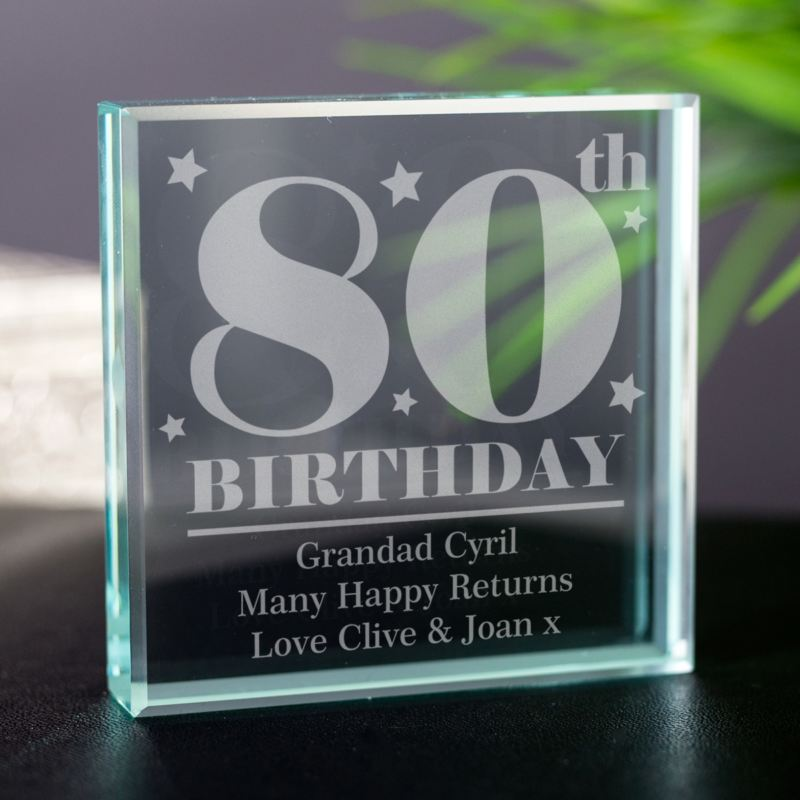 80th Birthday Engraved Glass Keepsake product image