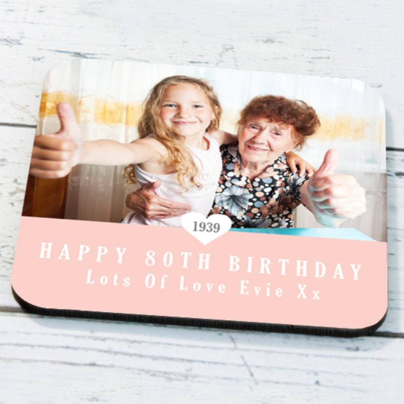 Personalised 80th Birthday Photo Coaster product image