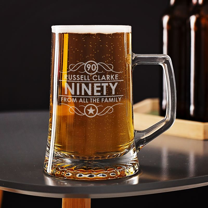 Engraved 90th Birthday Beer Glass Tankard product image