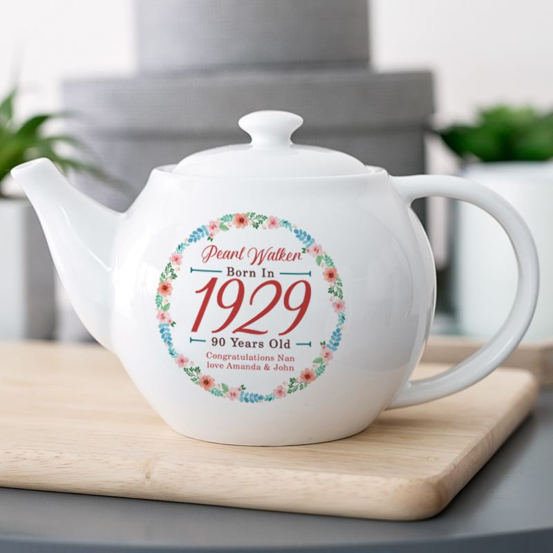 Personalised 90th Birthday Teapot - Floral Design product image