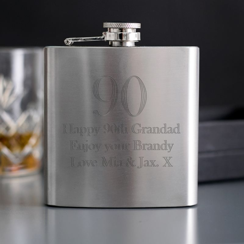 90th Birthday Engraved Brushed Steel Hip Flask product image