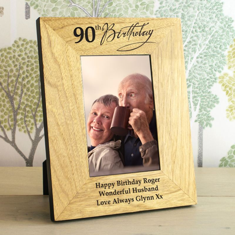 90th Birthday Wooden Personalised Photo Frame product image
