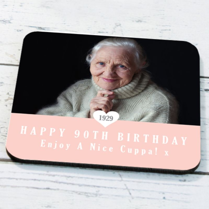 Personalised 90th Birthday Photo Coaster product image