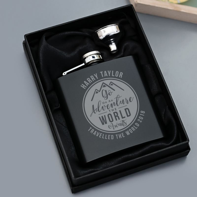 Personalised Adventure Awaits Hip Flask product image
