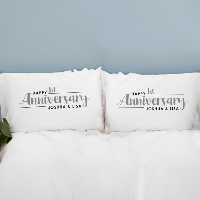Personalised Pair Of 1st Wedding Anniversary Pillowcases product image