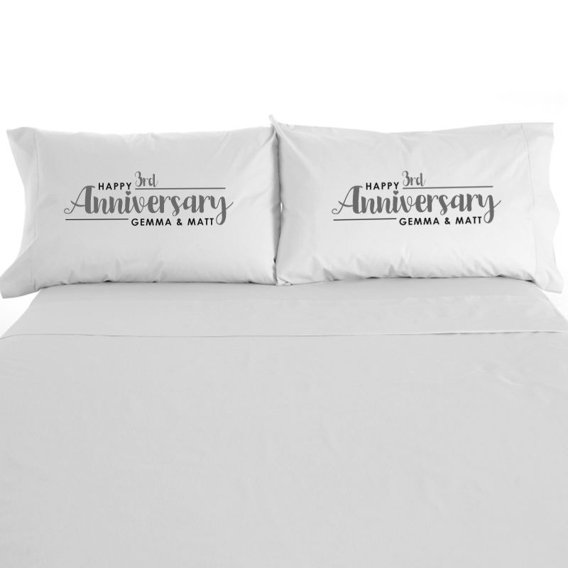Personalised Pair Of 3rd Wedding Anniversary Pillowcases product image