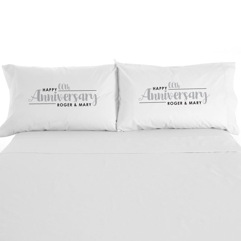 Personalised Pair Of 60th Wedding Anniversary Pillowcases product image