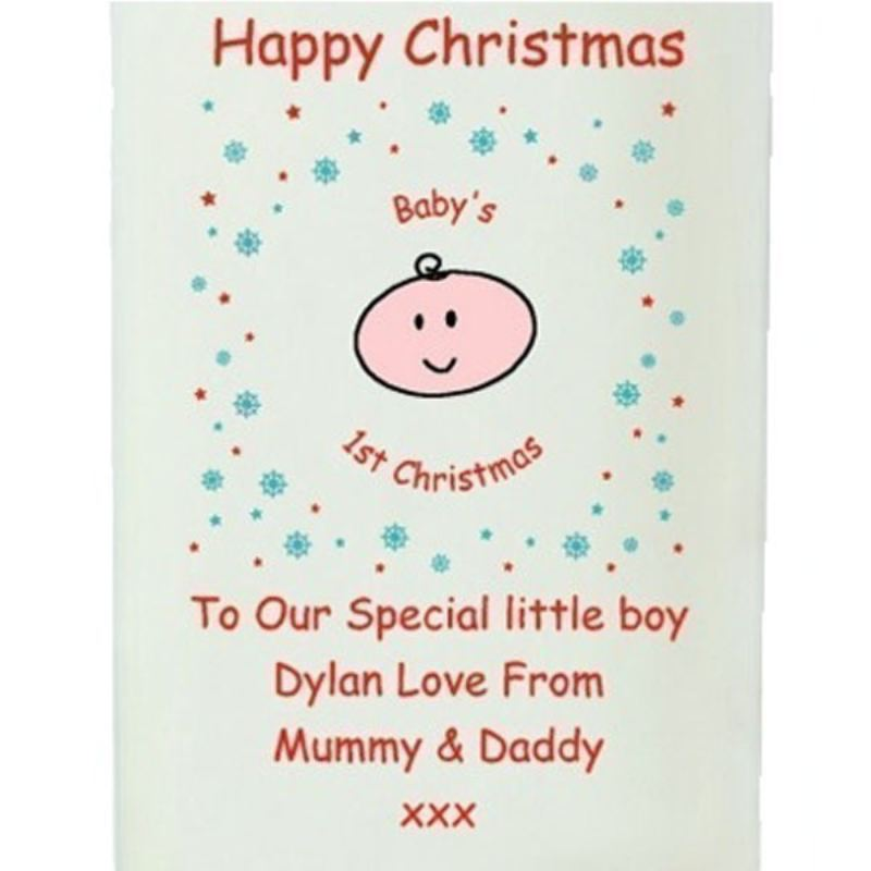 Baby's First Christmas Cartoon Personalised Candle product image