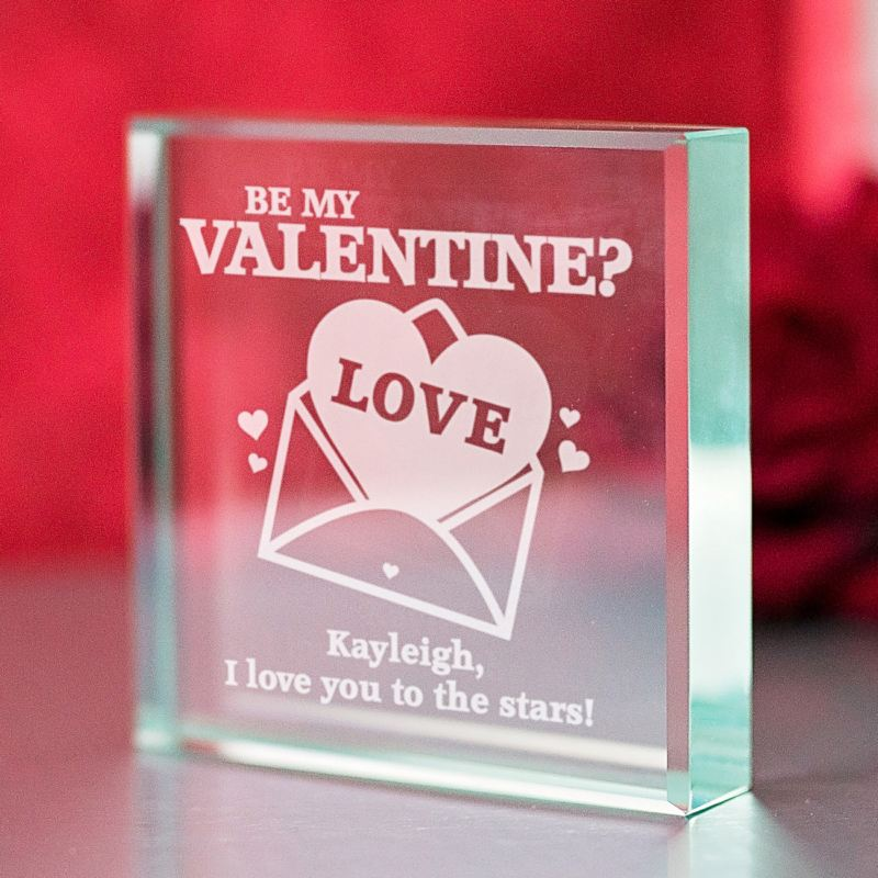 Engraved Valentine's Day Glass Keepsake product image
