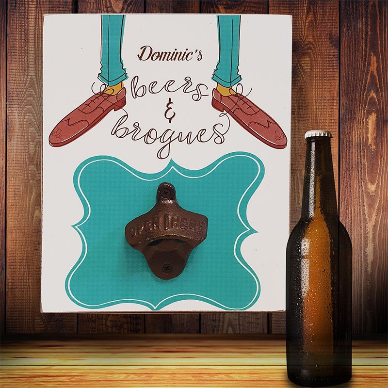 Beers & Brogues Personalised Bottle Opener Plaque product image