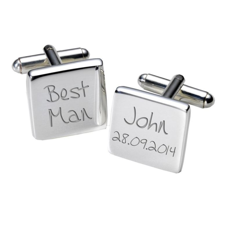 Engraved Best Man Cufflinks - Square product image