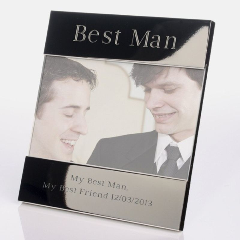 Engraved Best Man Shiny Silver Photo Frame product image