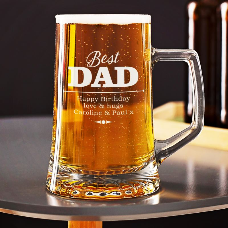 Personalised Best Dad Beer Glass Tankard product image