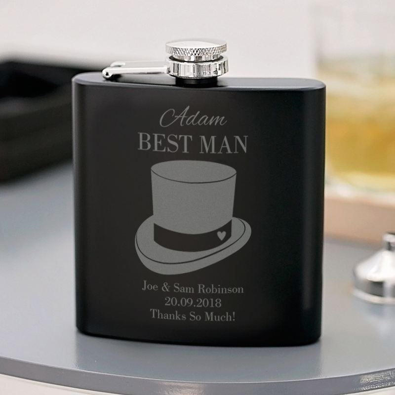 Best Man Engraved Black Hip Flask product image