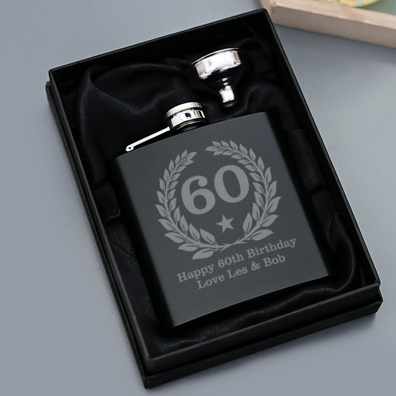 60th Birthday Engraved Satin Steel Black Hip Flask product image