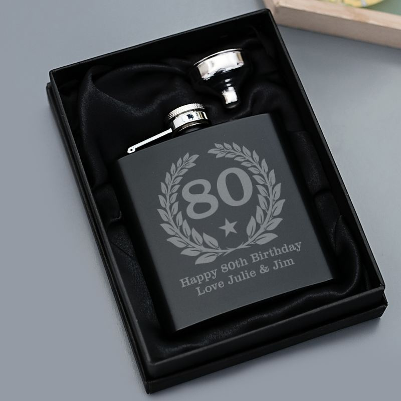 80th Birthday Engraved Satin Steel Black Hip Flask product image