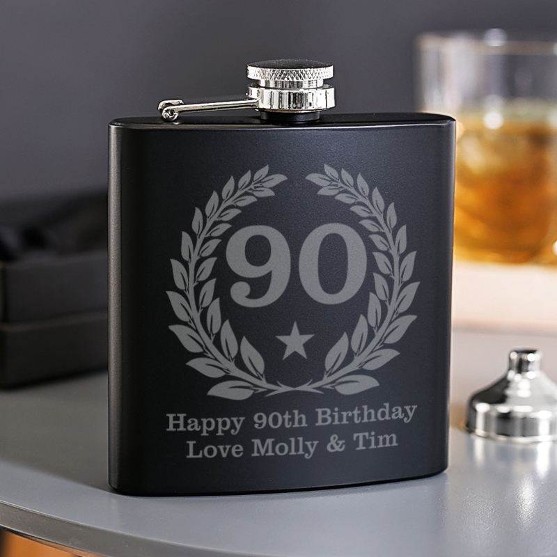 90th Birthday Engraved Satin Steel Black Hip Flask product image