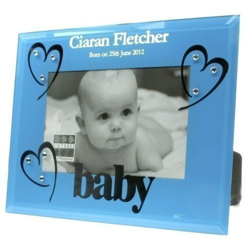 Blue Glass Baby Boy Birth Photo Frame product image