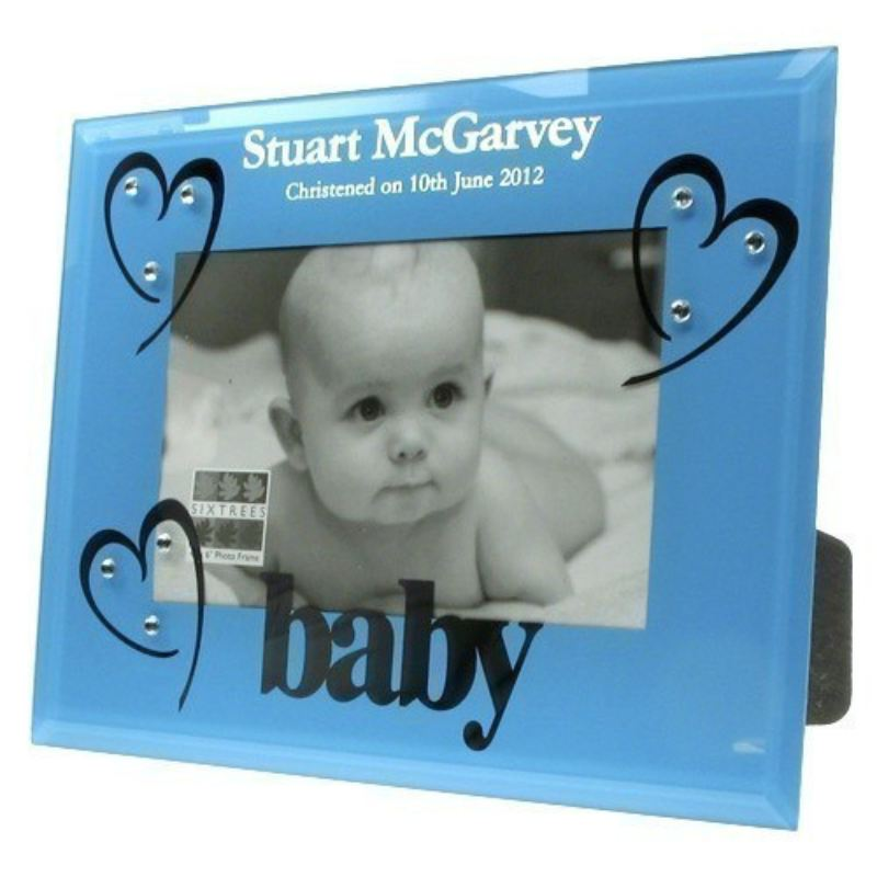 Blue Glass Christening Photo Frame product image