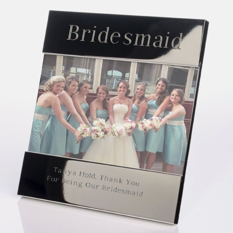 Bridesmaid Personalised Shiny Silver Photo Frame product image