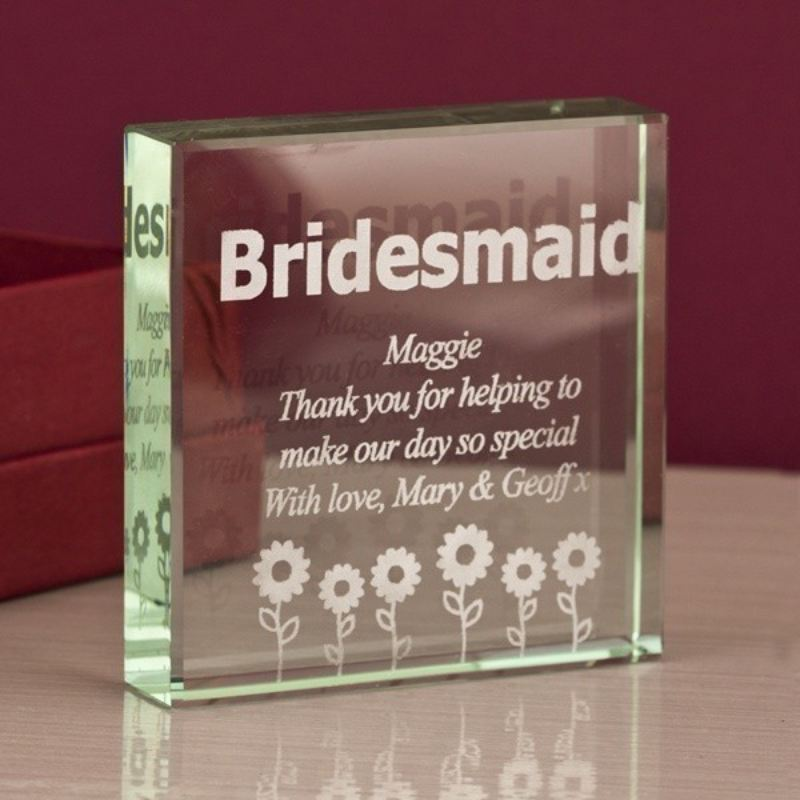 Bridesmaid Square Glass Keepsake product image