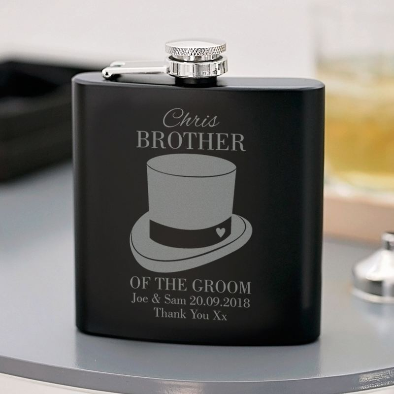 Engraved Brother of the Groom Black Hip Flask product image