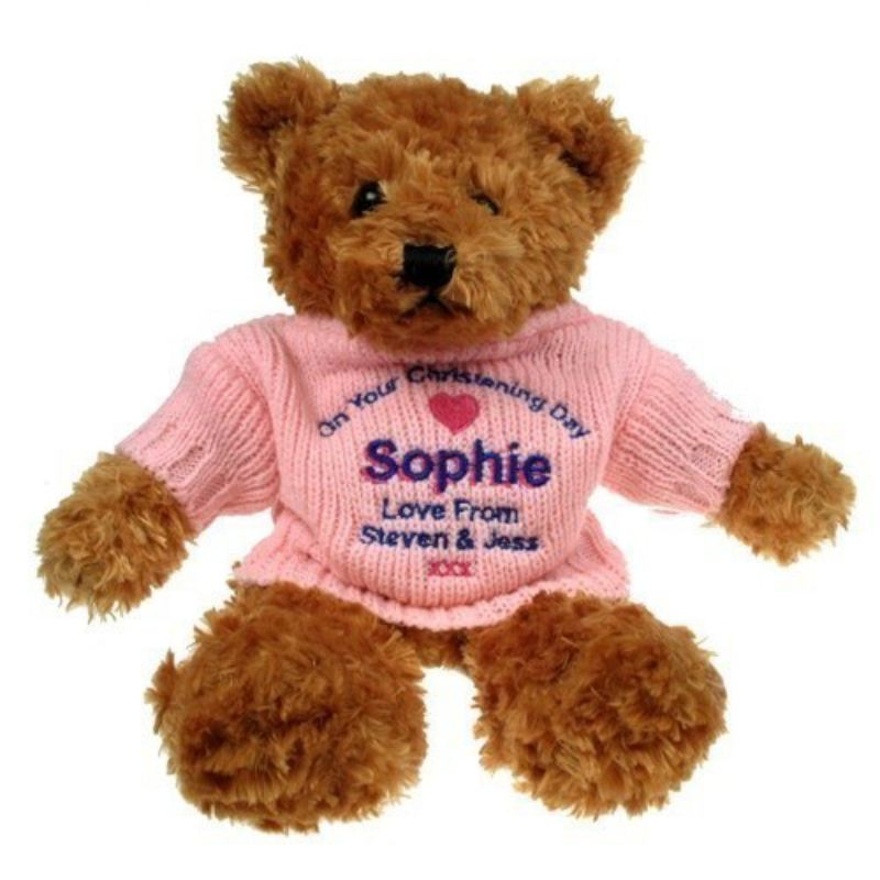 Brown Christening Teddy Bear For Her product image