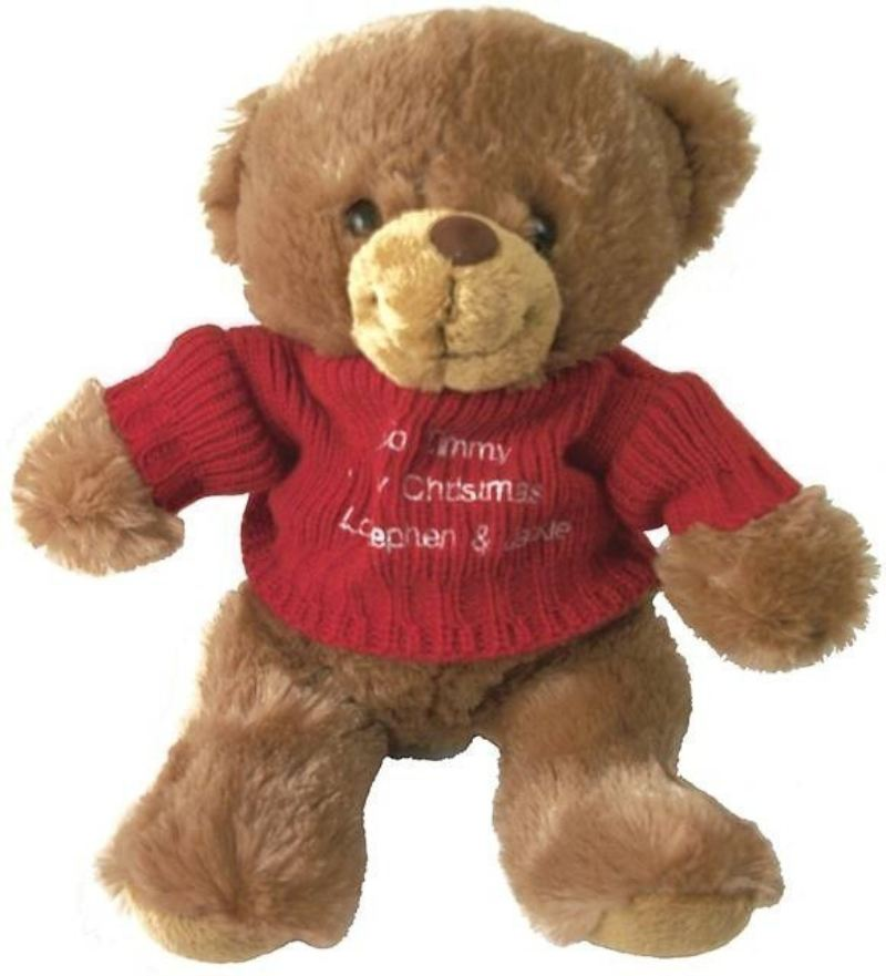 Brown Teddy Bear with Embroidered Red Jumper product image