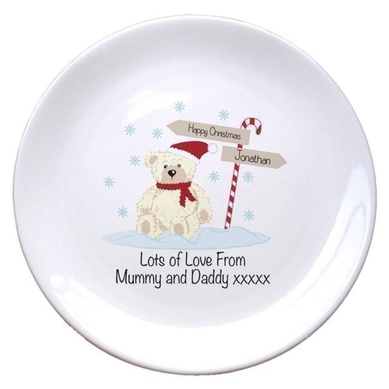 "Candy Cane Christmas Bear 8"" Coupe Plate product image"