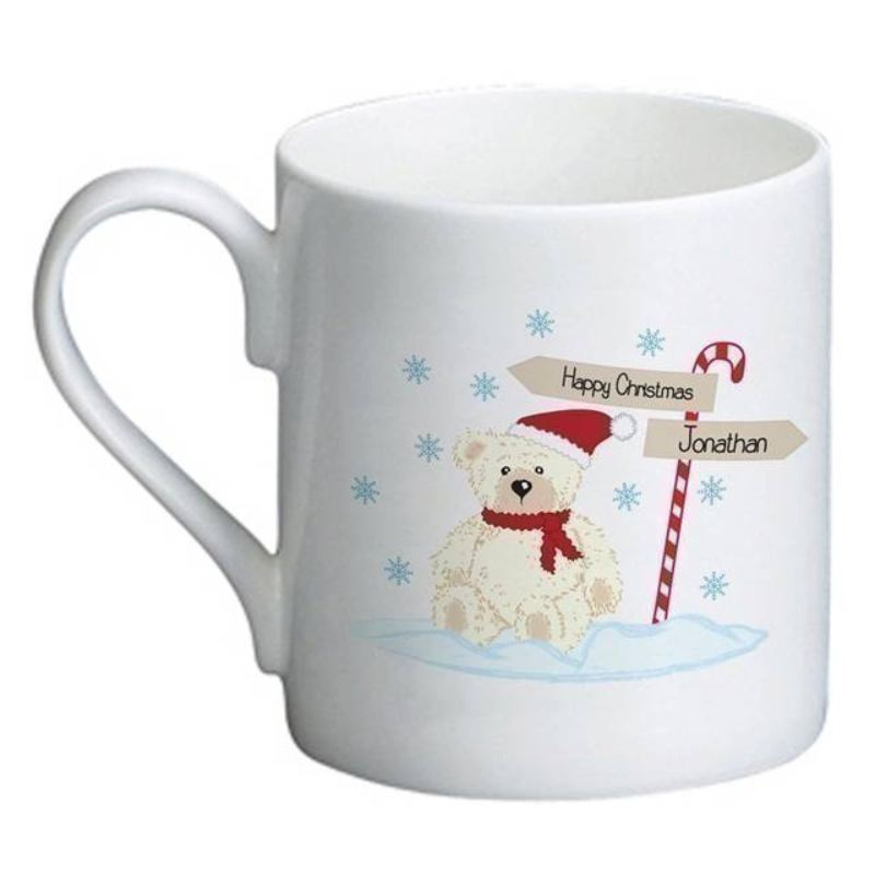 Candy Cane Christmas Bear Bone China Mug product image