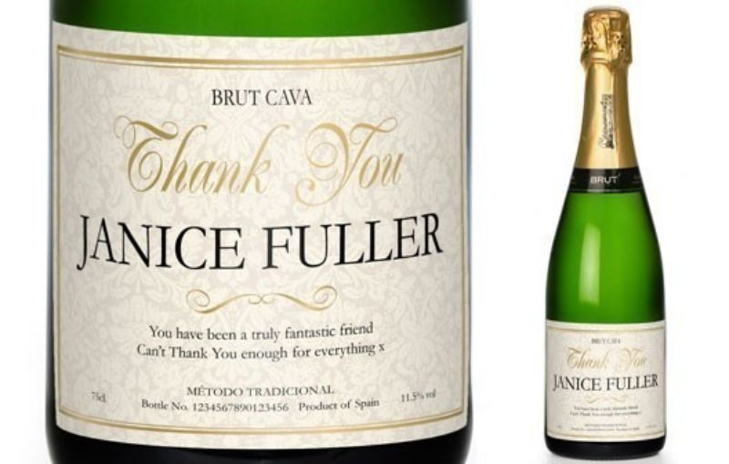 Cava with Personalised Thank You Floral Label in a Silk Lined Gift Box product image