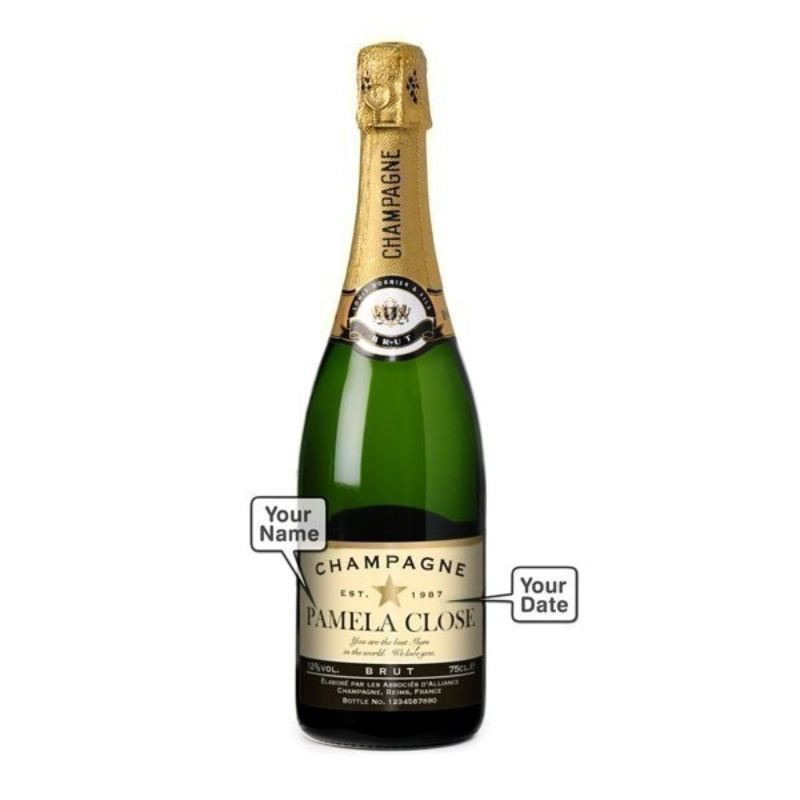 Champagne with Personalised Label and Personalised Flutes product image