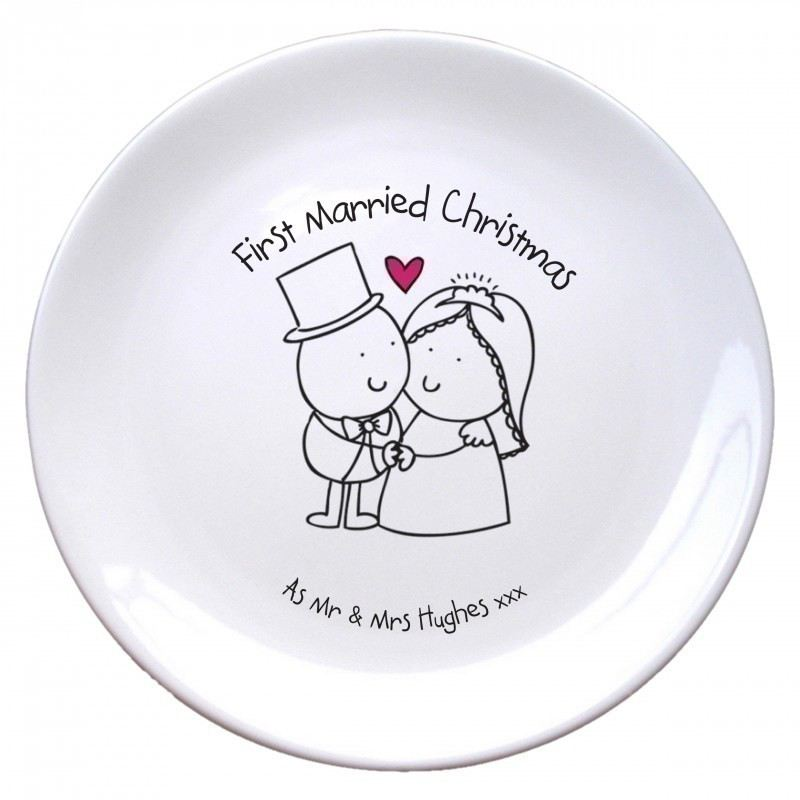 chilli bubble s first married christmas plate the personalised