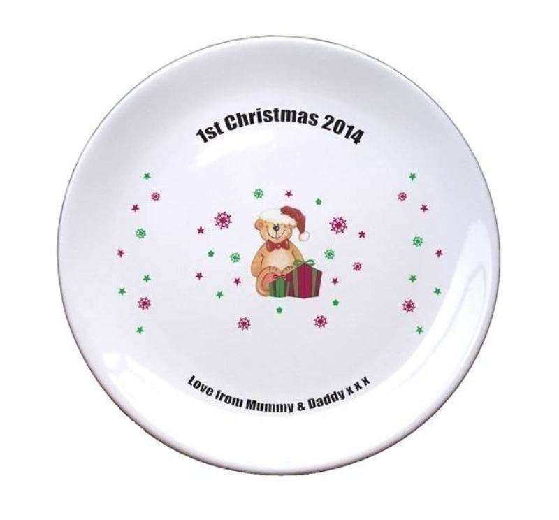 "Christmas Teddy & Hat 8"" Coupe Plate product image"