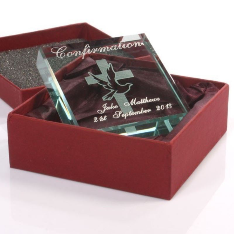 Confirmation Day Personalised Glass Keepsake product image