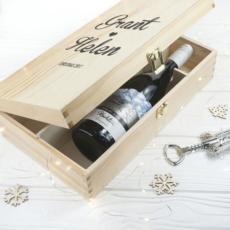 Couple's Romantic Personalised Wine Box product image