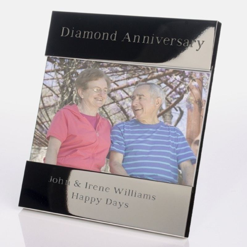 Diamond Wedding Anniversary Shiny Silver Photo Frame product image