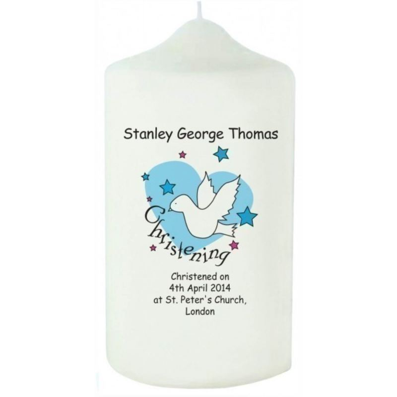 Dove & Hearts Blue Christening Candle product image