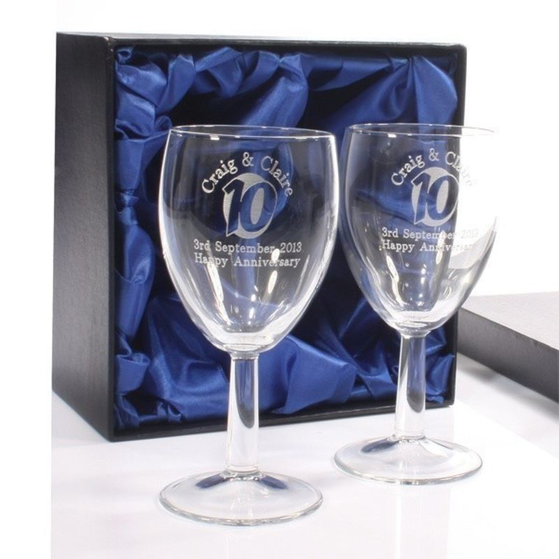 Engraved 10th Anniversary Wine Glasses product image