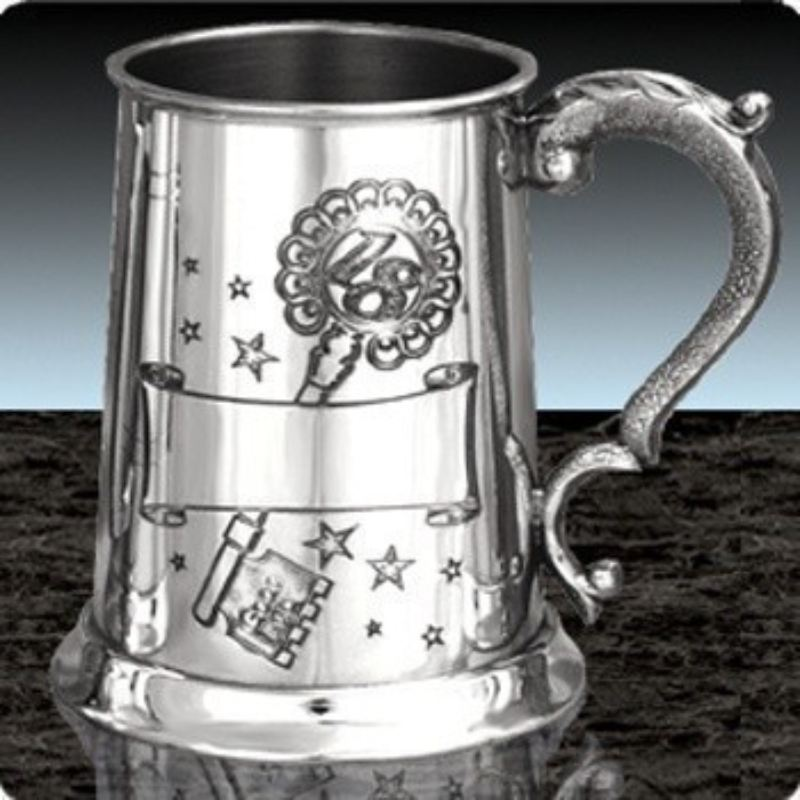 Engraved 18th Birthday Tankard: Party Theme With Key And
