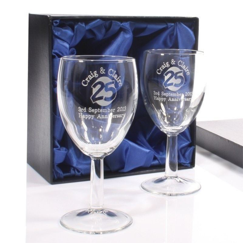 Engraved 25th Anniversary Wine Glasses The Personalised