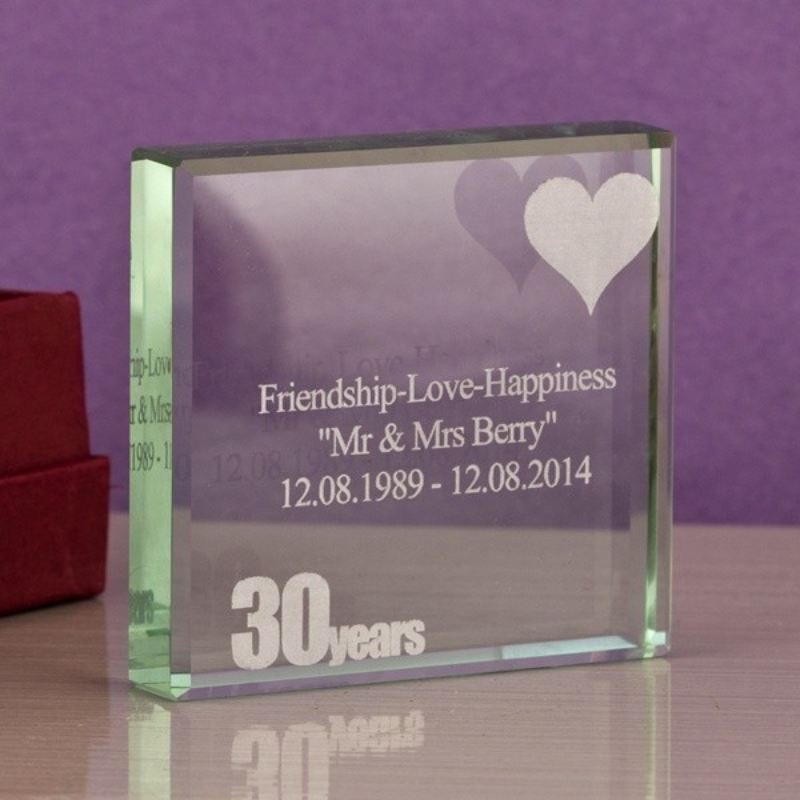 Engraved 30th Anniversary Glass Keepsake product image
