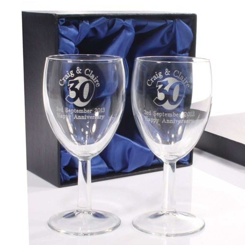 Engraved 30th Anniversary Wine Glasses product image