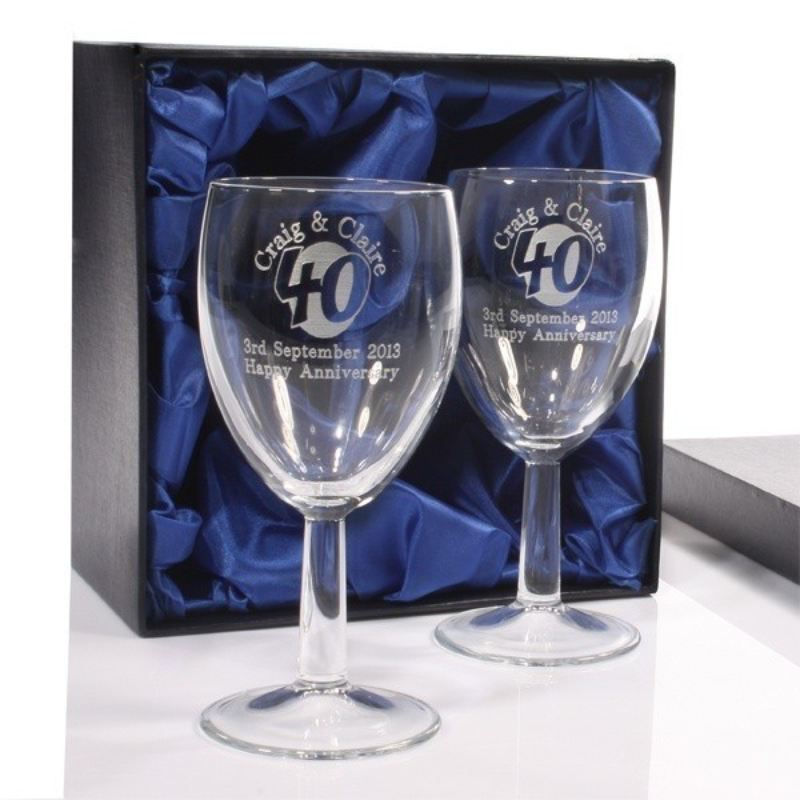 Engraved 40th Anniversary Wine Glasses The Personalised