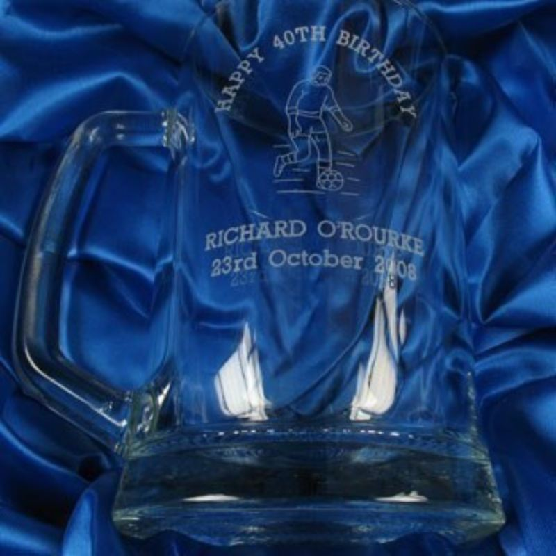 Engraved 40th Birthday Glass Tankard: Footballer product image