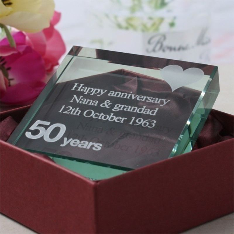 Engraved 50th Anniversary Glass Keepsake product image