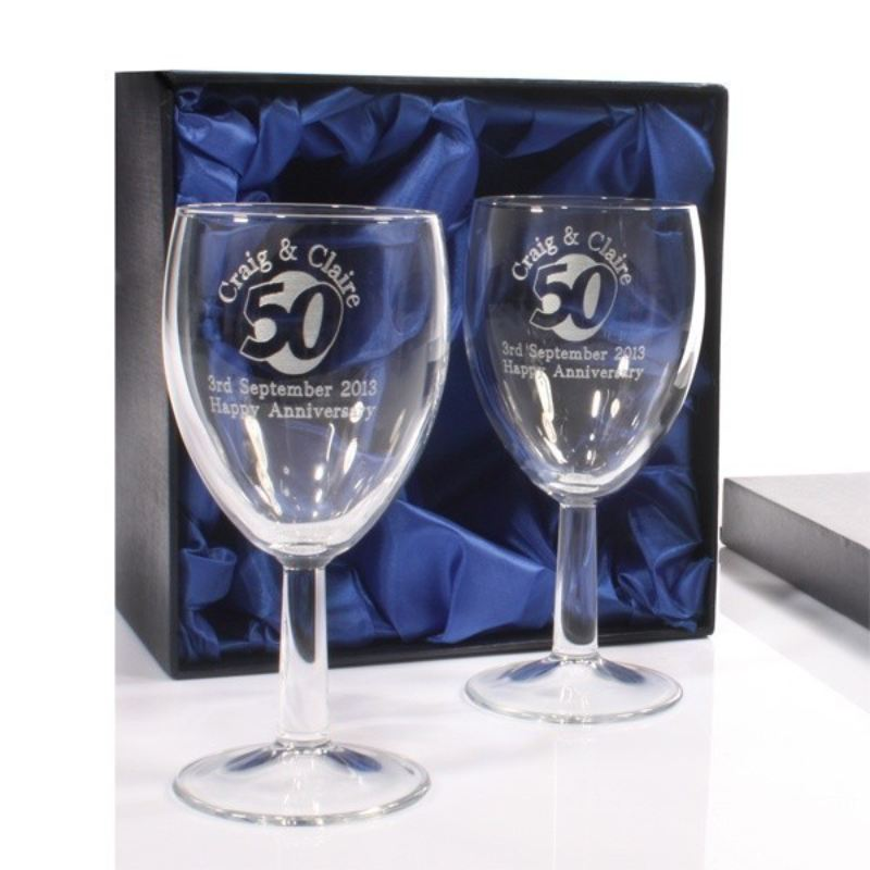 Engraved 50th Anniversary Wine Glasses The Personalised