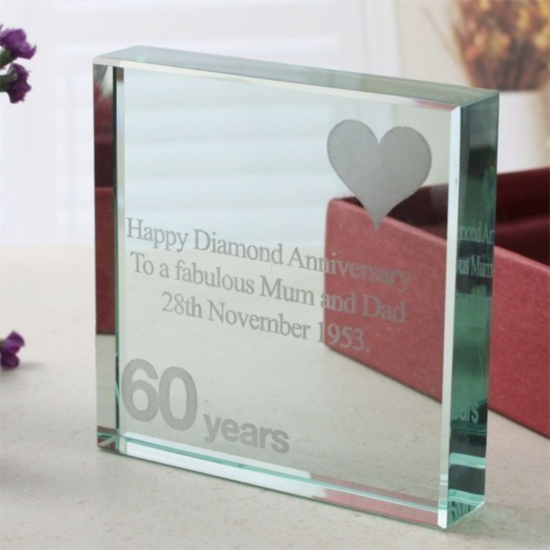 Engraved 60th Anniversary Glass Keepsake product image
