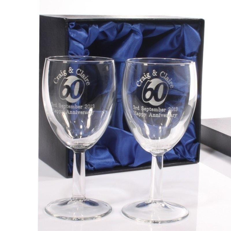 Engraved 60th Anniversary Wine Glasses The Personalised