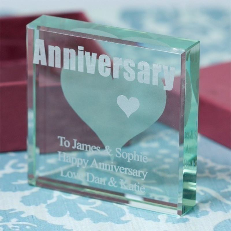 Engraved Anniversary Square Glass Keepsake product image